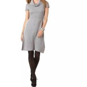 CALVIN KLEIN Ribbed Cowl Neck Gray Sweater Dress